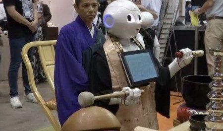 robot oficiando funeral