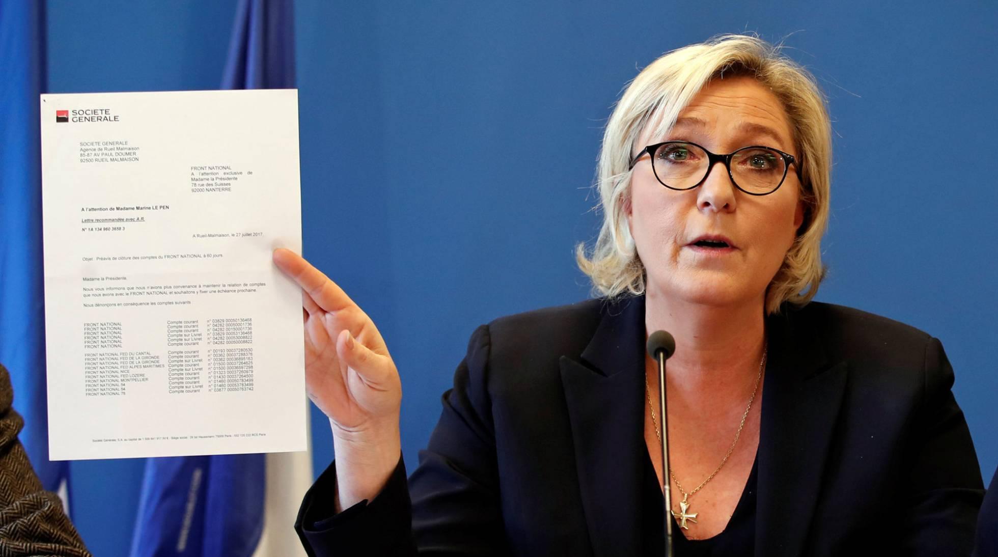 Marine Le Pen denunciará a dos bancos por cerrar sus cuentas