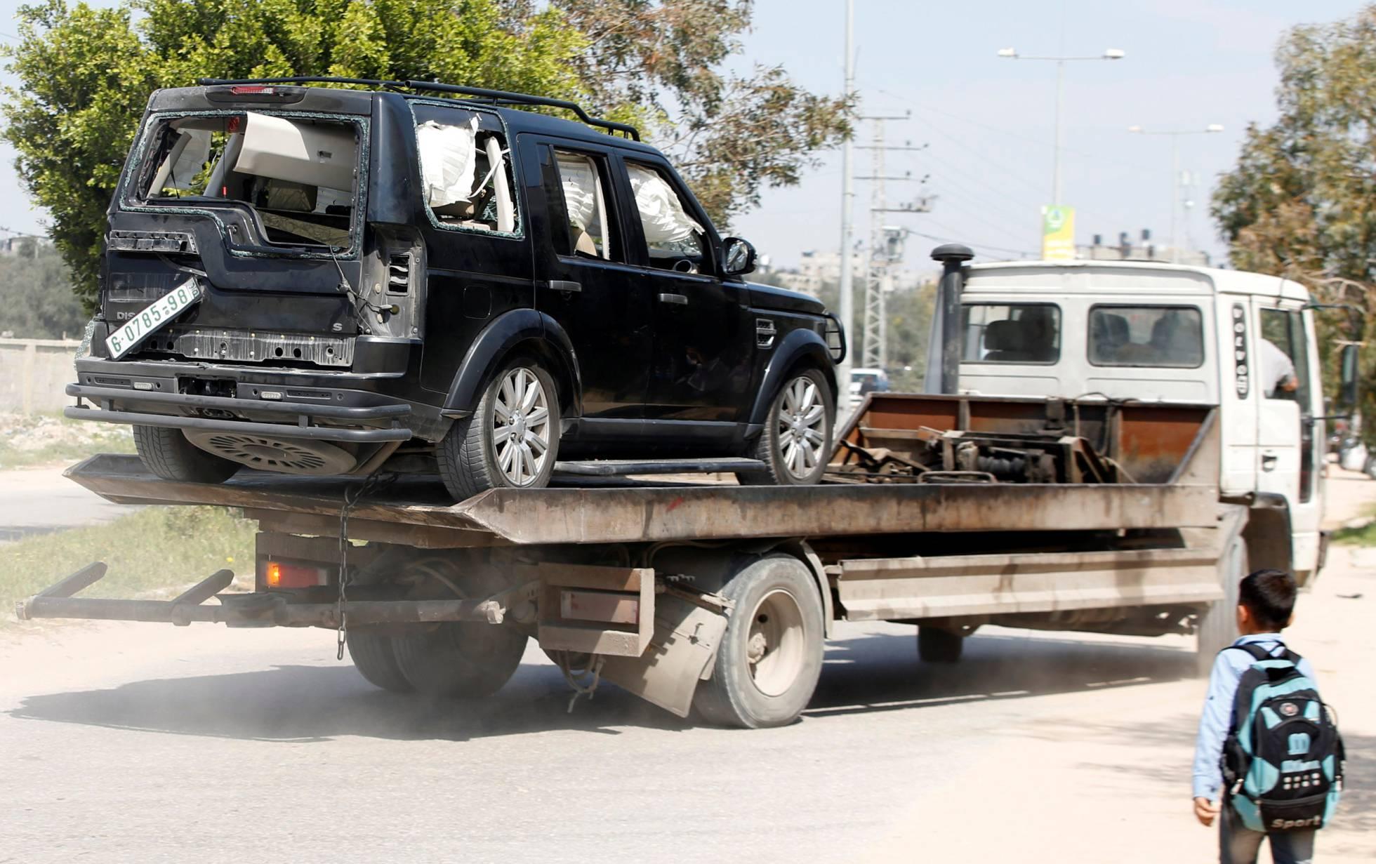 vehiculo convoy ministro palestino