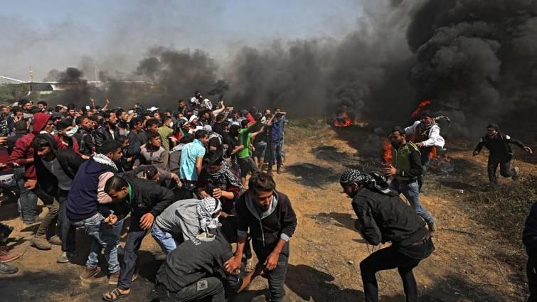 palestinos en protesta