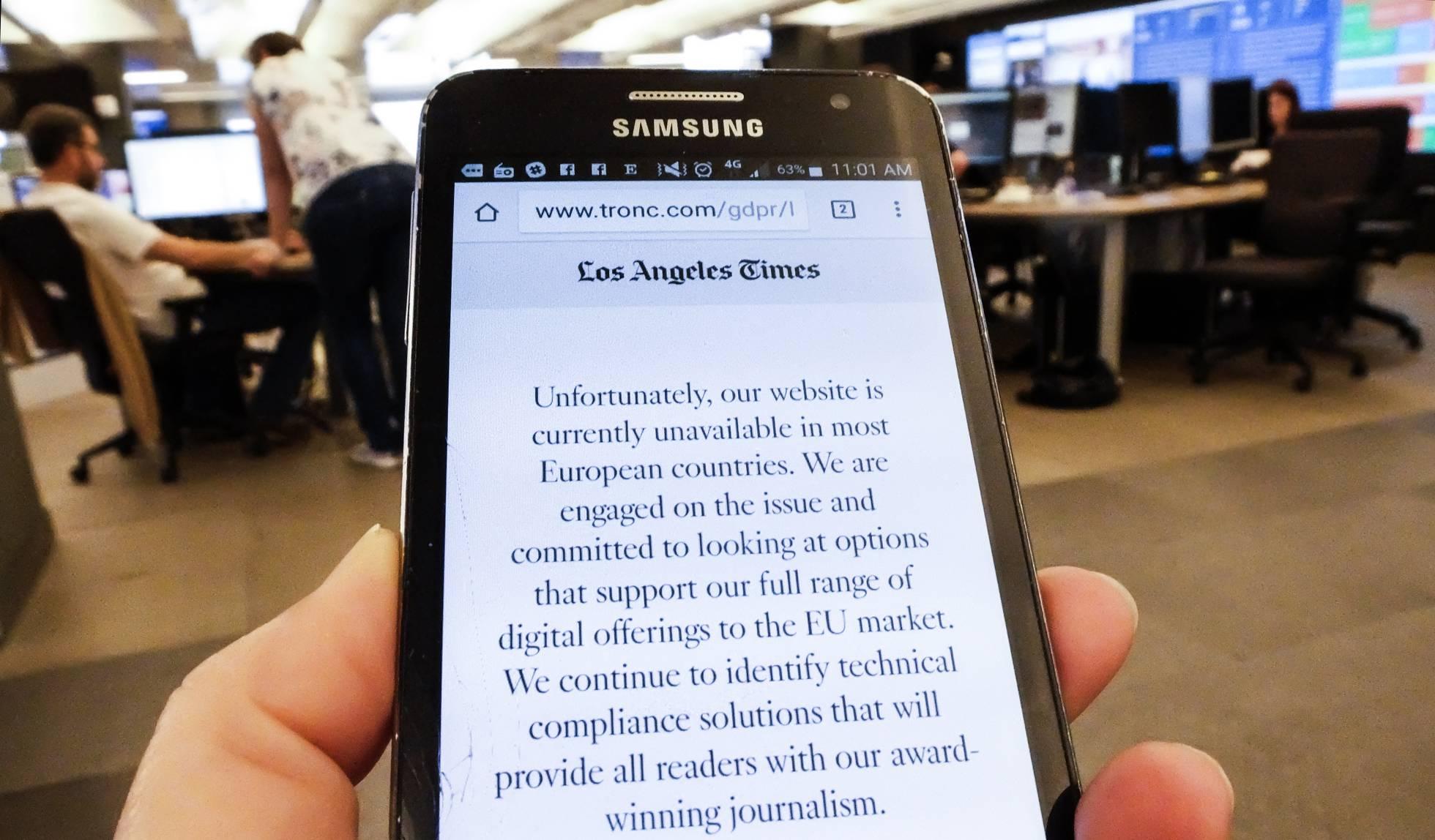 Medios de EE UU deniegan el acceso a sus webs desde la UE por la protección de datos