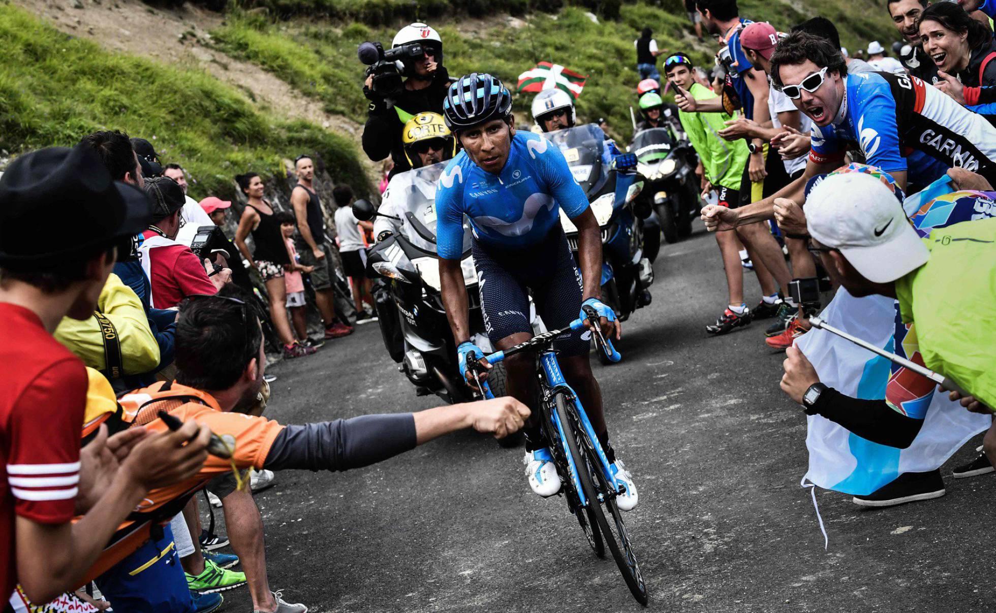 Ruge Nairo Quintana en el puerto más duro del Tour