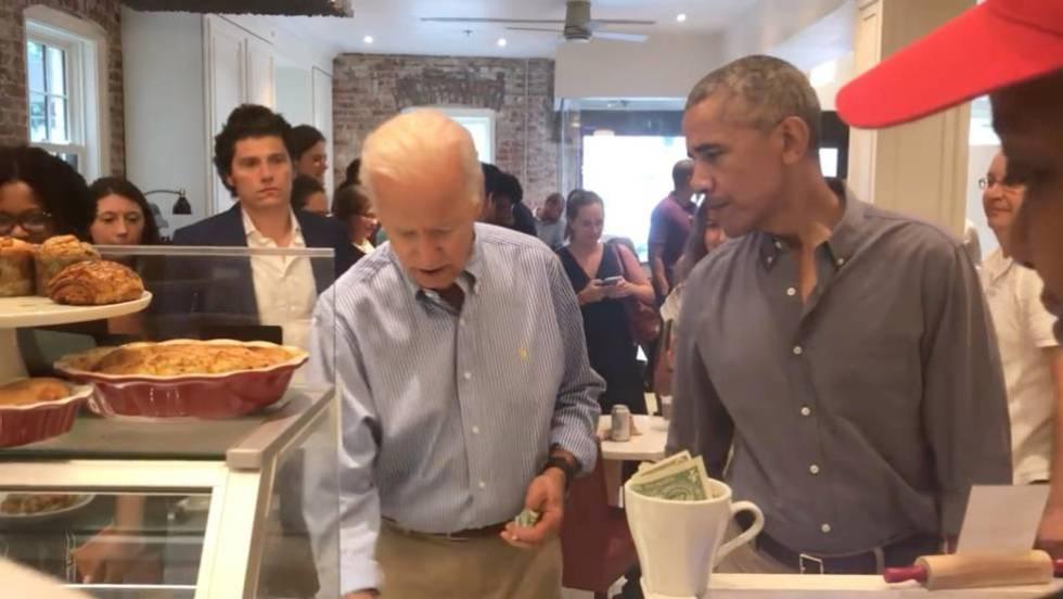 Biden y Obama en cafeteria en Washington