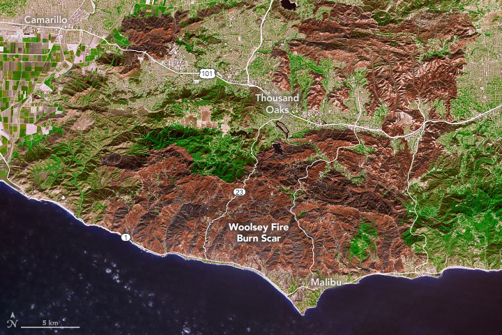 Observatorio de la Tierra muestra la cicatriz que deja el incendio Woolsey en el sur de CA