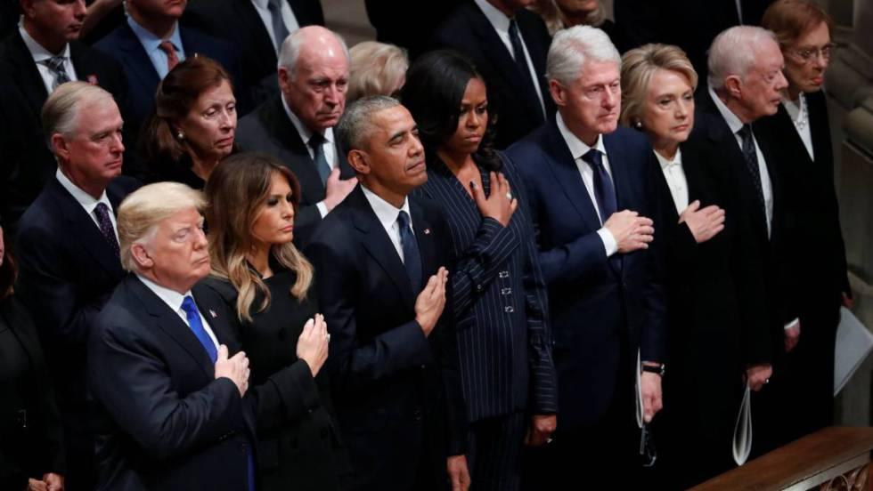 trump junto a 3 expresidentes de EEUU