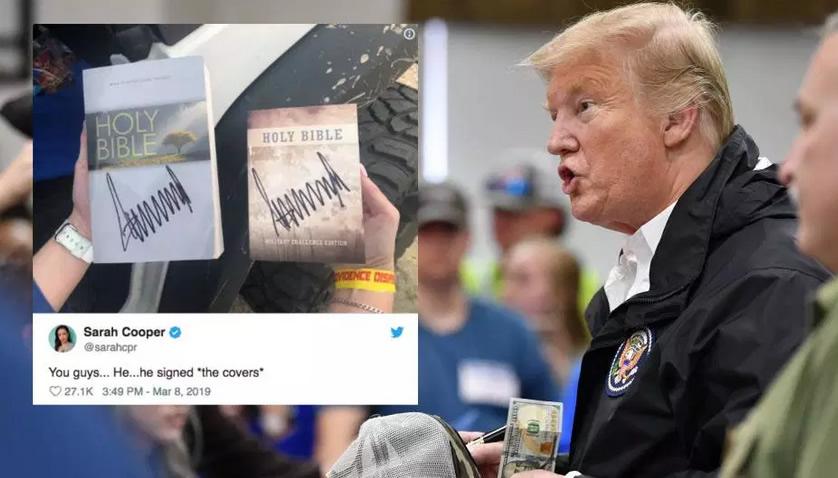 Trump firma autógrafos en Biblias tras desastre en Alabama, ¿sacrilegio?