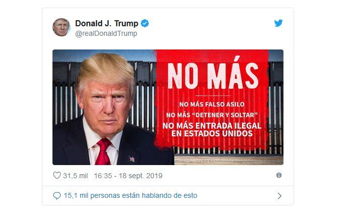 Tuitea Trump en español para defender su política migratoria