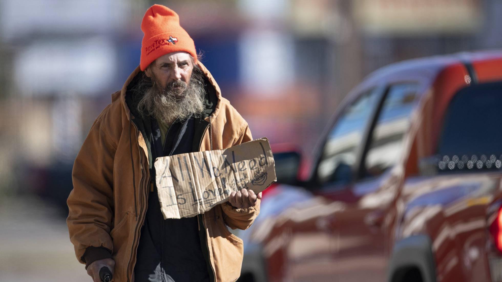 persona sin techo en Austin EEUU