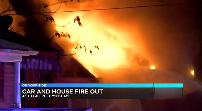 Familia de 3, escapa de incendio en casa en Birmingham