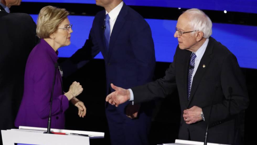 El debate del género entra en la campaña demócrata en un pulso entre Elizabeth Warren y Bernie Sanders