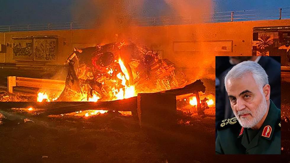 vehiculo incendiado Bagdad
