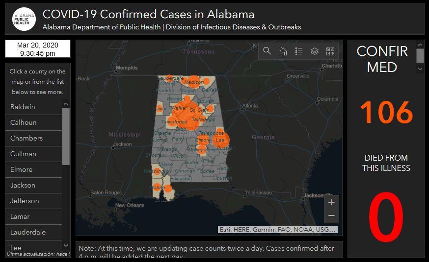 106 casos de coronavirus confirmados en Alabama
