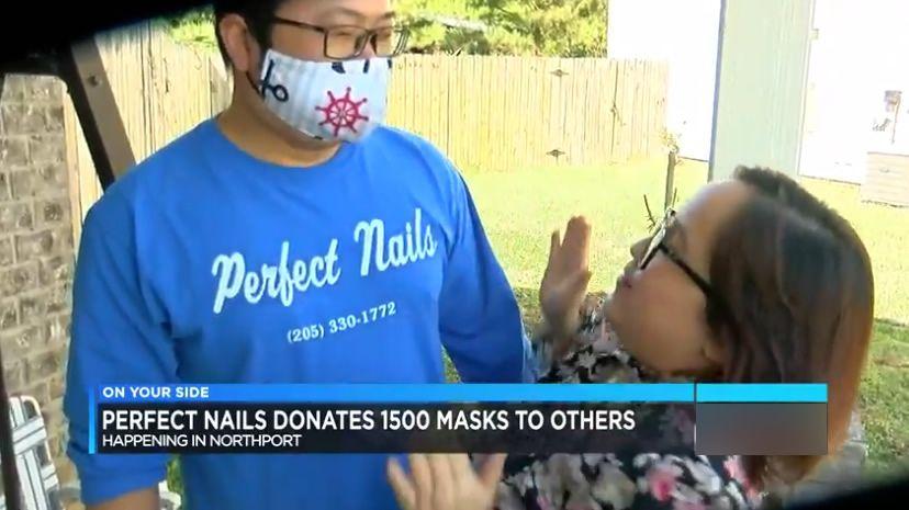 Perfect Nails en Northport, dona 1,500 máscaras a trabajadores esenciales