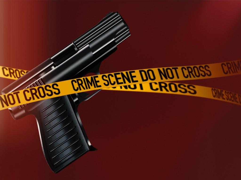 gun and crime scene