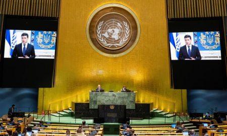 presidente ucrania en pantalla en ONU