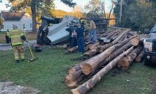 Camión de troncos volcado, causa retrasos de tráfico en el condado de Crenshaw