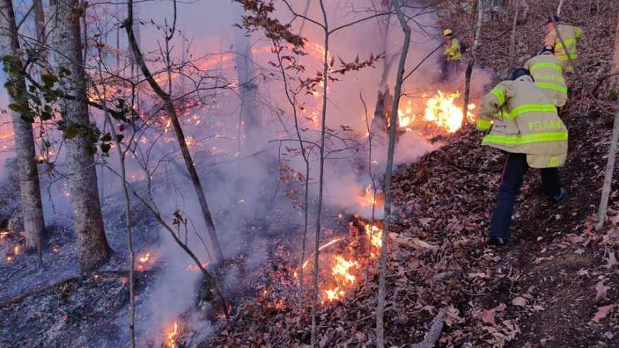 El Departamento de Bomberos de Pelham contuvo incendios de matorrales