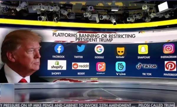 Doce redes sociales y plataformas bloquean a Donald Trump