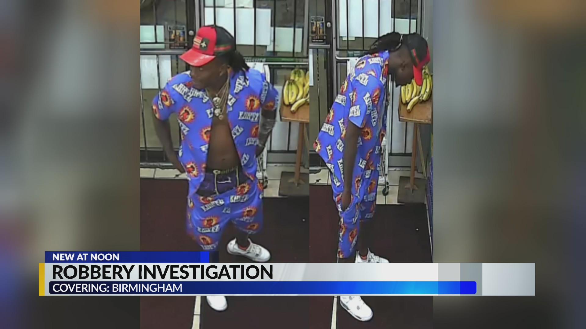 Autoridades buscan sospechoso involucrado en un robo en Birmingham