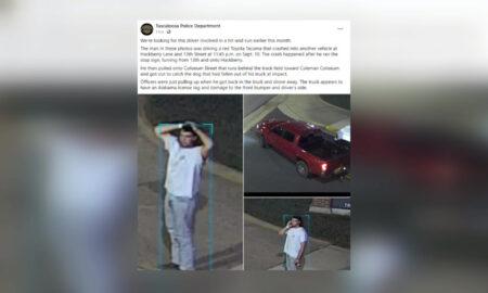 El Departamento de Policía de Tuscaloosa pide ayuda al público para identificar sospechoso de atropello y fuga